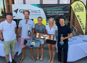 Tom Milne, Doyle Sails UK presents Serious Fun with the J/70 UK Class Champions Trophy. L-R Toby Mumford, Annabel Vose, Hannah Peters, Mark Lees. (pic: Tanya Robinson/Royal Southern YC)